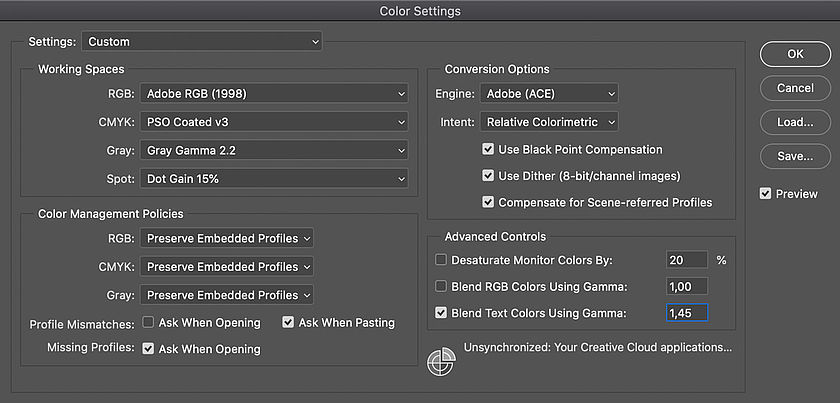 Color settings in Photoshop