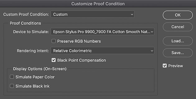 Customising proof conditions in Photoshop