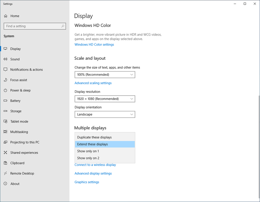 Desktop display settings for multi-monitor displays in Windows 10