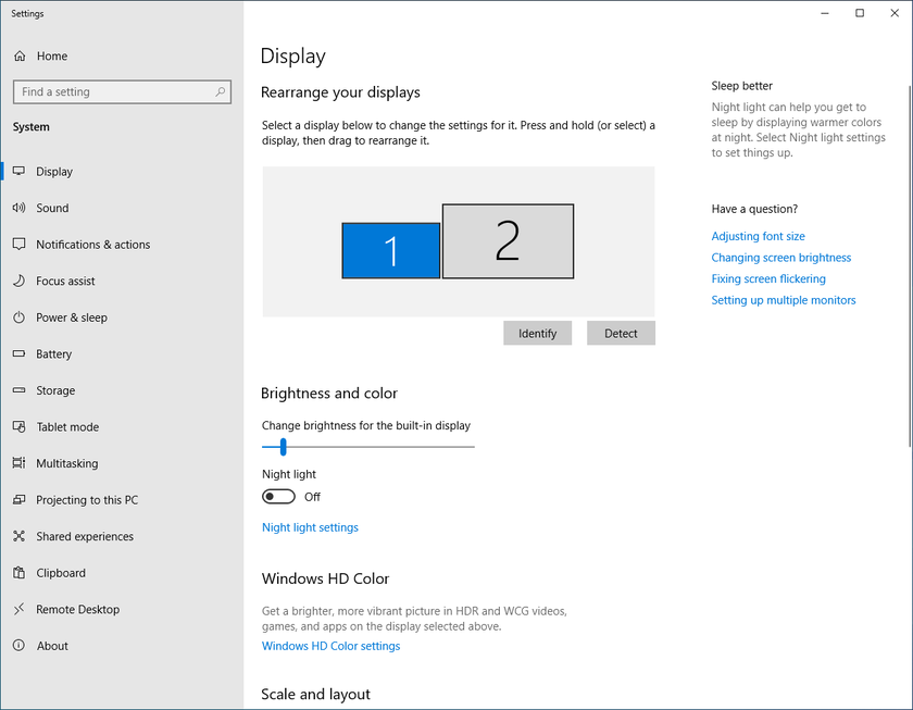 Display settings in the Windows 10 Control Panel