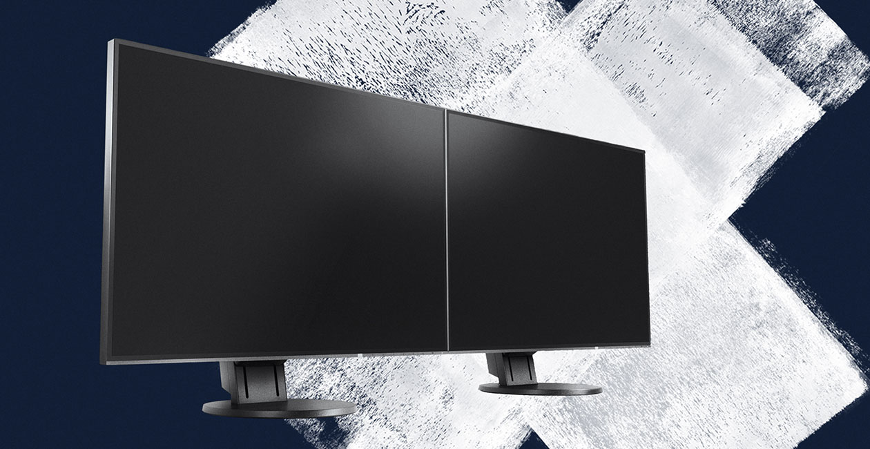 EIZO monitors with a nearly frameless design for multi-screen operation