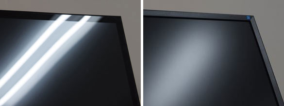Light can reflect onto the screen creating specters (left) and glare (right).