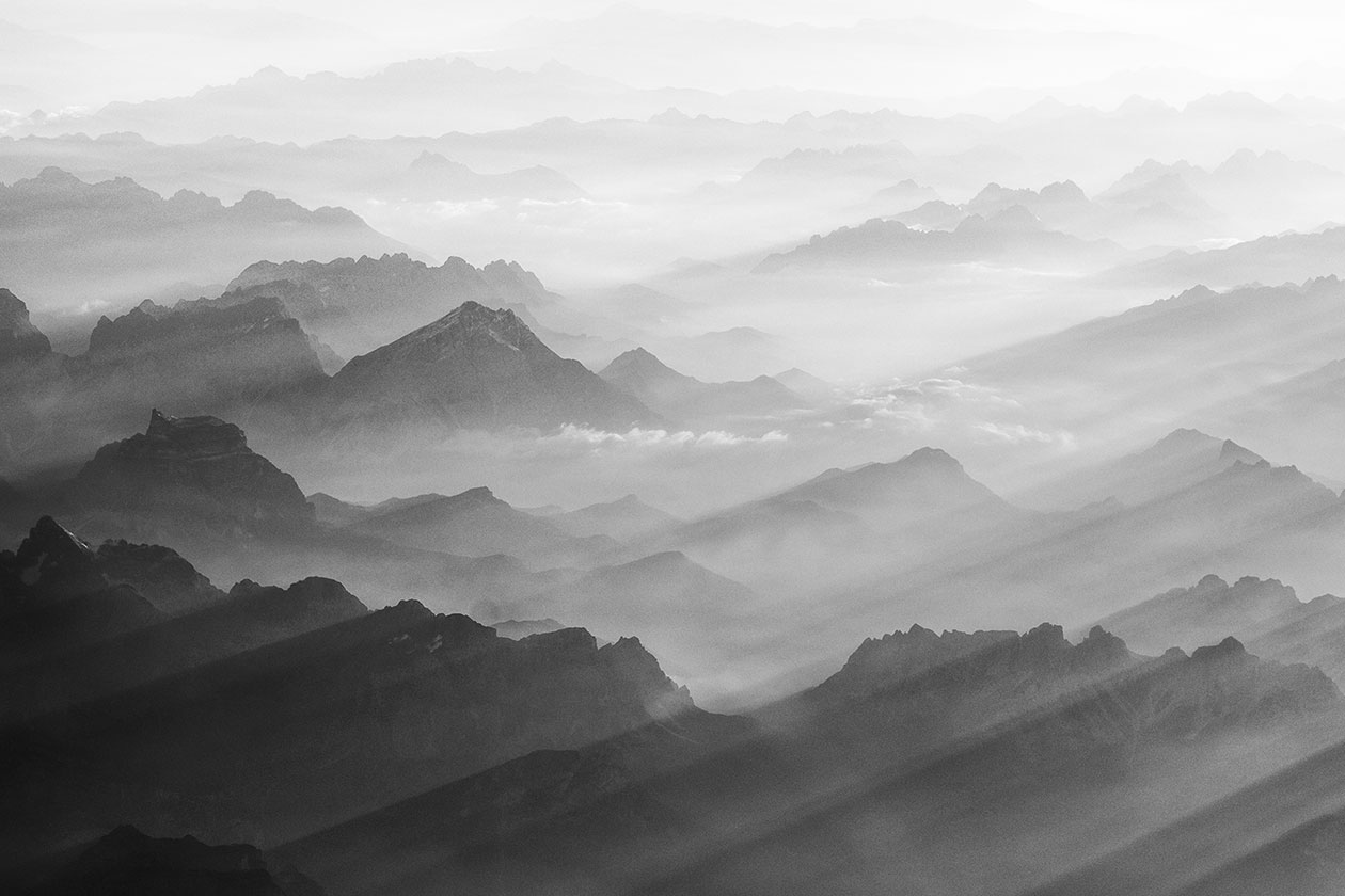 Mountains captured in black and white