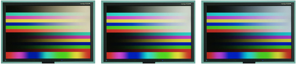 Sample color bars displayed at color temperatures 5000, 6500, and 9300 K