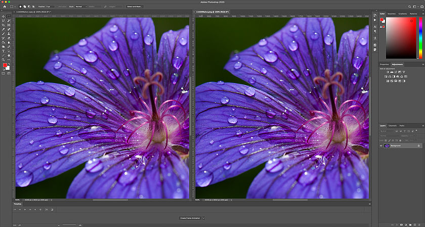 Showing original next to the proof in Photoshop