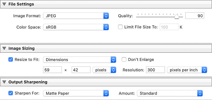 Specify the dimensions and resolution of the printer when exporting