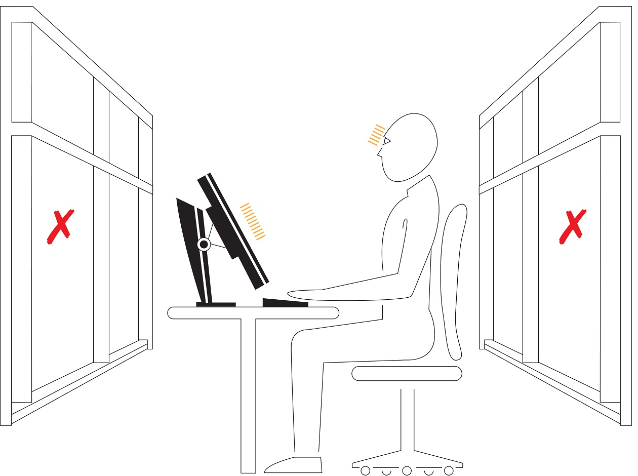 Suboptimal positioning of the workstation in relation to the window