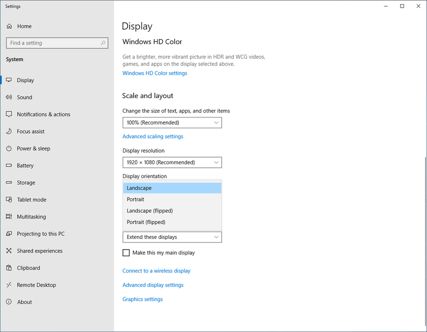 You can also use the display settings in Windows 10 to adjust the scaling of desktop elements and the orientation of the displays.